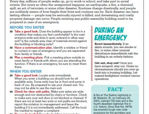 Tip sheet on safety in places of public assembly prepares the public for emergencies